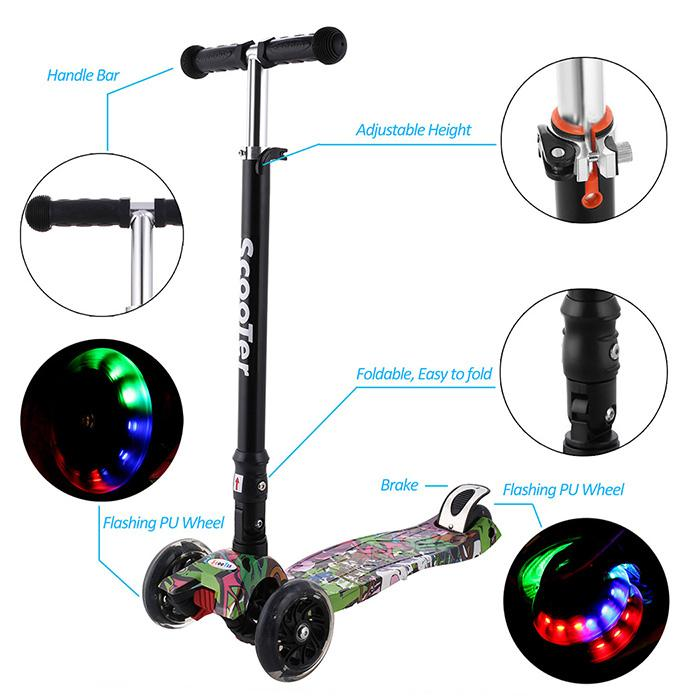 Brand New Aluminum Alloy Kick Scooter Boys Girls Adjustable Height Kids Scooter Tricycle Stroller Trottinette Enfant