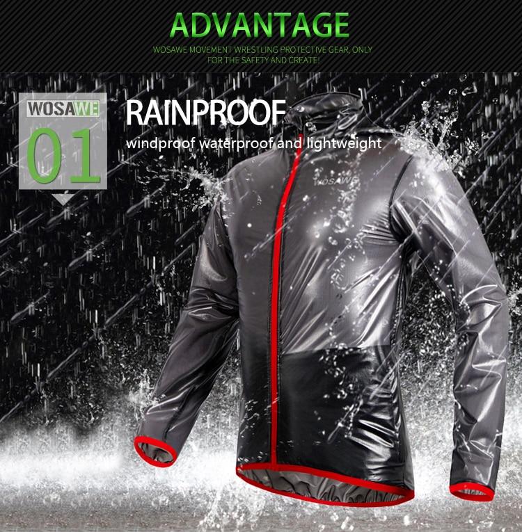 WOSAWE Outdoor Sports Waterproof Windproof Rain Coat Cycling Jackets Bike Bicycle Running Jersey Ultralight Gray/ Blue/ Green