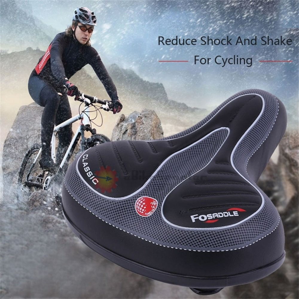 Wide Big Bum Mountain Road Bike Bicycle Sporty Soft Pad Saddle Seat W// Taillight