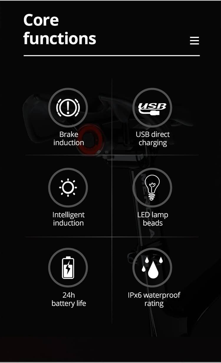 Taillight LED Bike And Scooters - Auto Start/Stop Brake Sensing IPx6 Waterproof USB Charging