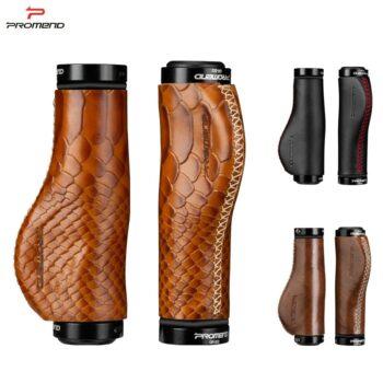 PROMEND Handlebar Grips Genuine Leather. Amazing Comfy Ergonomic